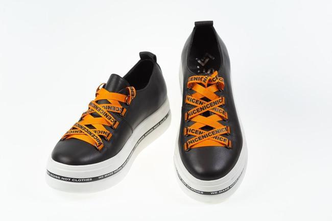 Кеды черные с оранжевым SAV 2058_2
