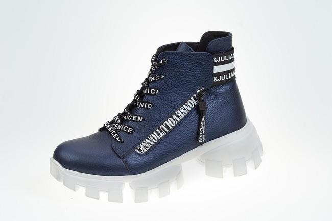 Ботинки-кроссовки синее на белой подошве  SAV 2059_2