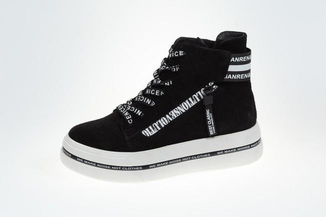 Ботинки-кеды черные на белой подошве SAV 2059_4