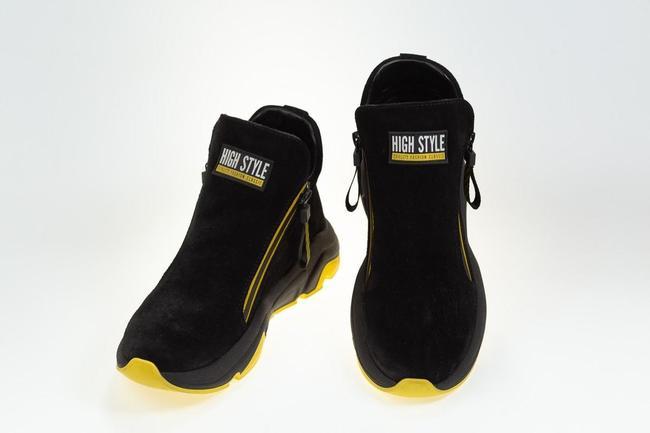 Ботинки черные замшевые на желтой подошве SAV 2062_2