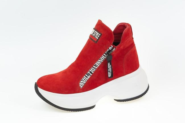 Ботинки красные  замшевые на белой подошве SAV 2062_5