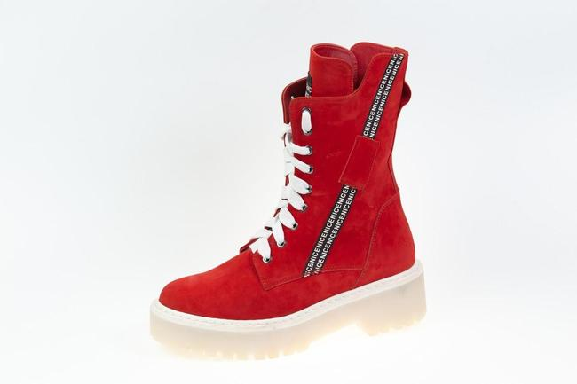 Ботинки-кроссовки  красные нубук SAV 2075_4