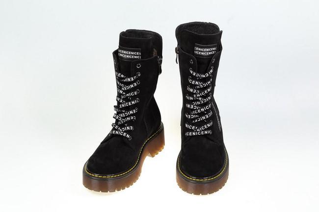 Ботинки-кроссовки черные нубук SAV 2075_6
