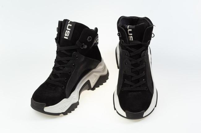 Кроссовки черные на белой подошве SAV 2115