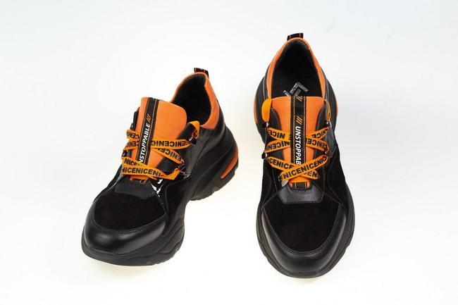 Кроссовки черно-оранжевые SAV 2118