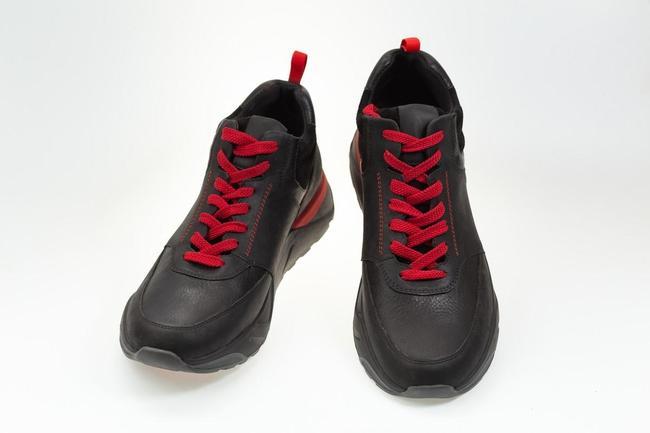 Ботинки-кроссовки черные с красными вставками SAV 303_2
