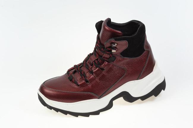 Ботинки темно бордовые зимние на шнурках  SAV 612_2
